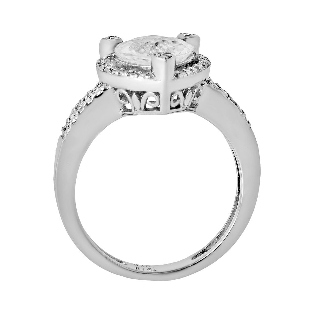 Sterling Silver White Topaz and Diamond Accent Heart Frame Ring