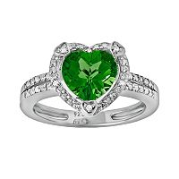 Sterling Silver Lab-Created Emerald & Diamond Accent Heart Frame Ring