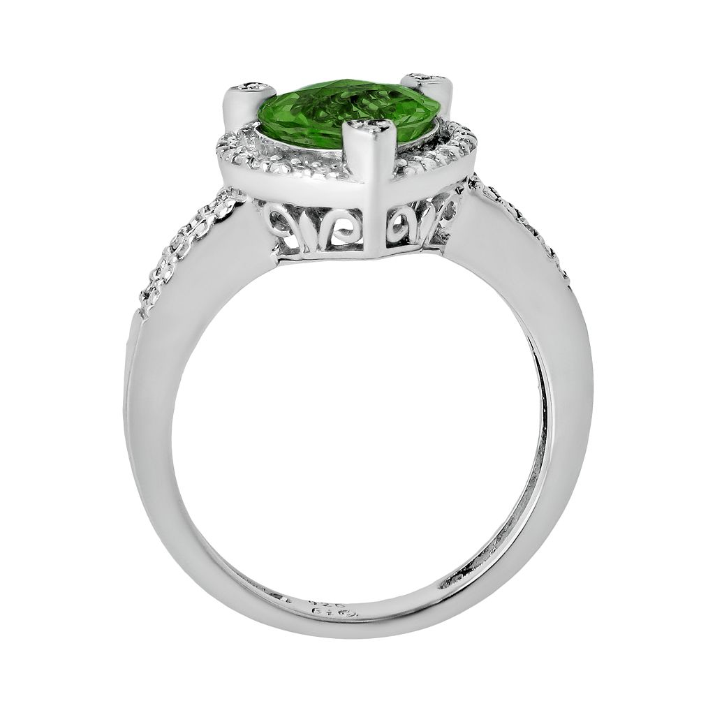 Sterling Silver Lab-Created Emerald and Diamond Accent Heart Frame Ring