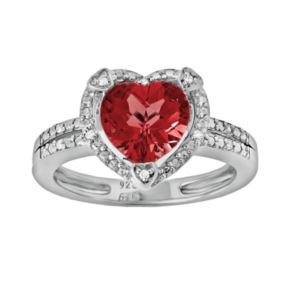 Sterling Silver Lab-Created Ruby and Diamond Accent Heart Frame Ring