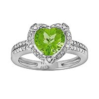 Sterling Silver Peridot & Diamond Accent Heart Frame Ring