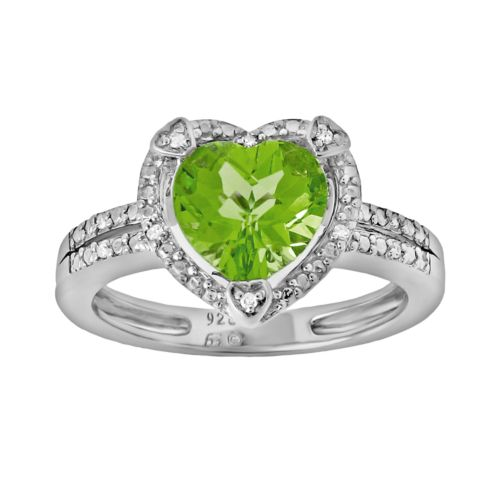 Sterling Silver Peridot and Diamond Accent Heart Frame Ring