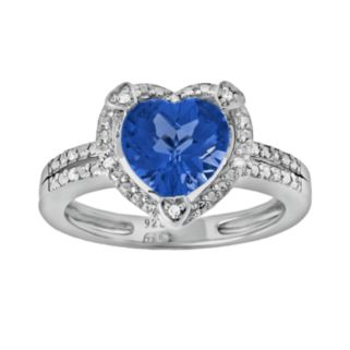 Sterling Silver Lab-Created Sapphire and Diamond Accent Heart Frame Ring