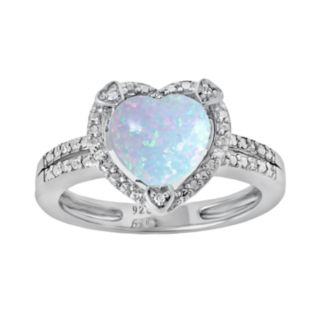 Sterling Silver Lab-Created Opal and Diamond Accent Heart Frame Ring
