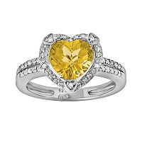 Sterling Silver Citrine & Diamond Accent Heart Frame Ring