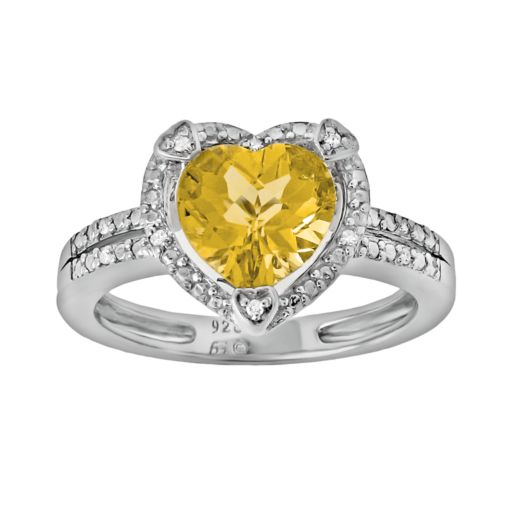 Sterling Silver Citrine and Diamond Accent Heart Frame Ring