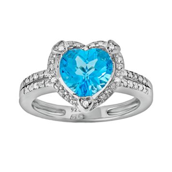 Sterling Silver Blue Topaz & Diamond Accent Heart Frame Ring