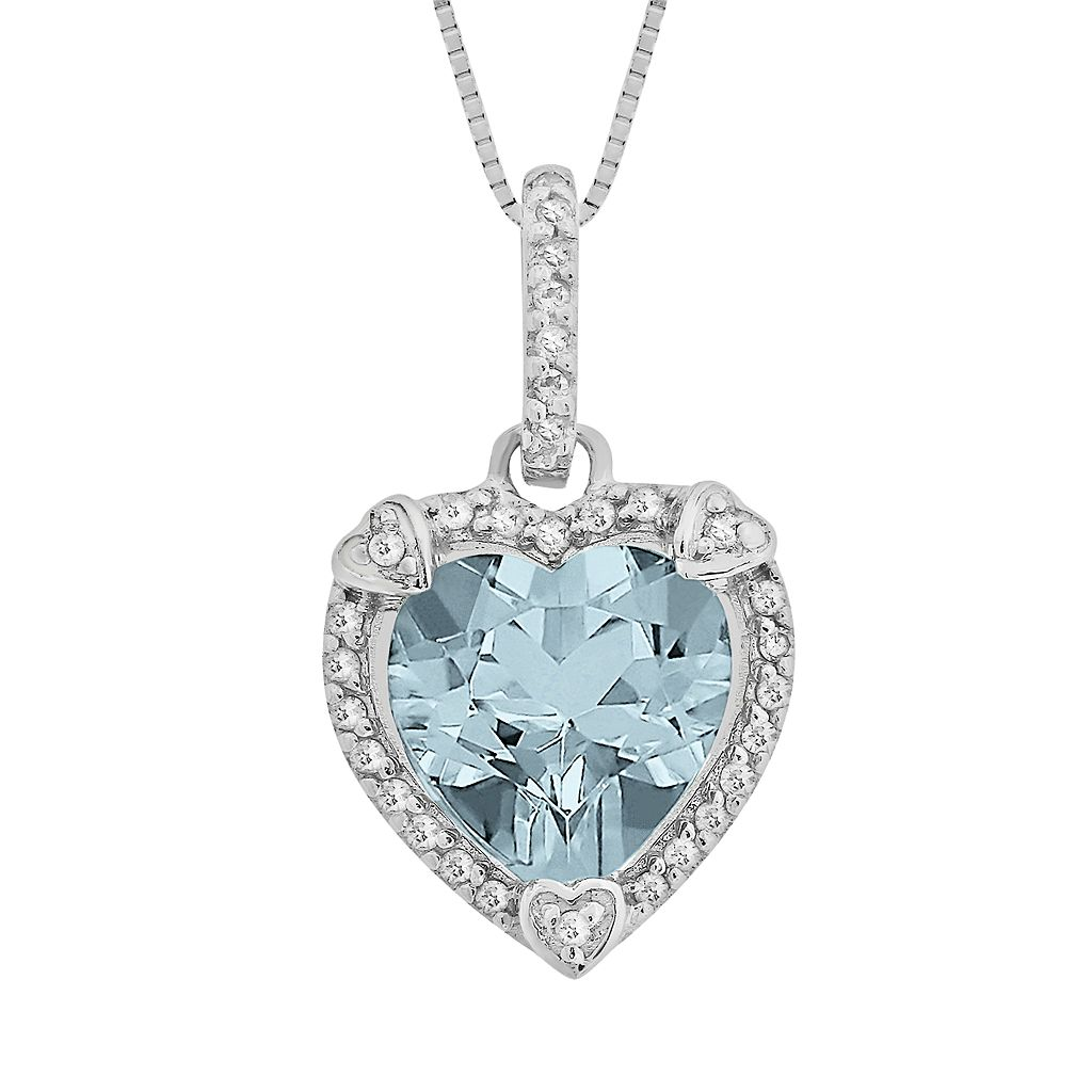 Sterling Silver Lab-Created Aquamarine & Diamond Accent Heart Frame Pendant