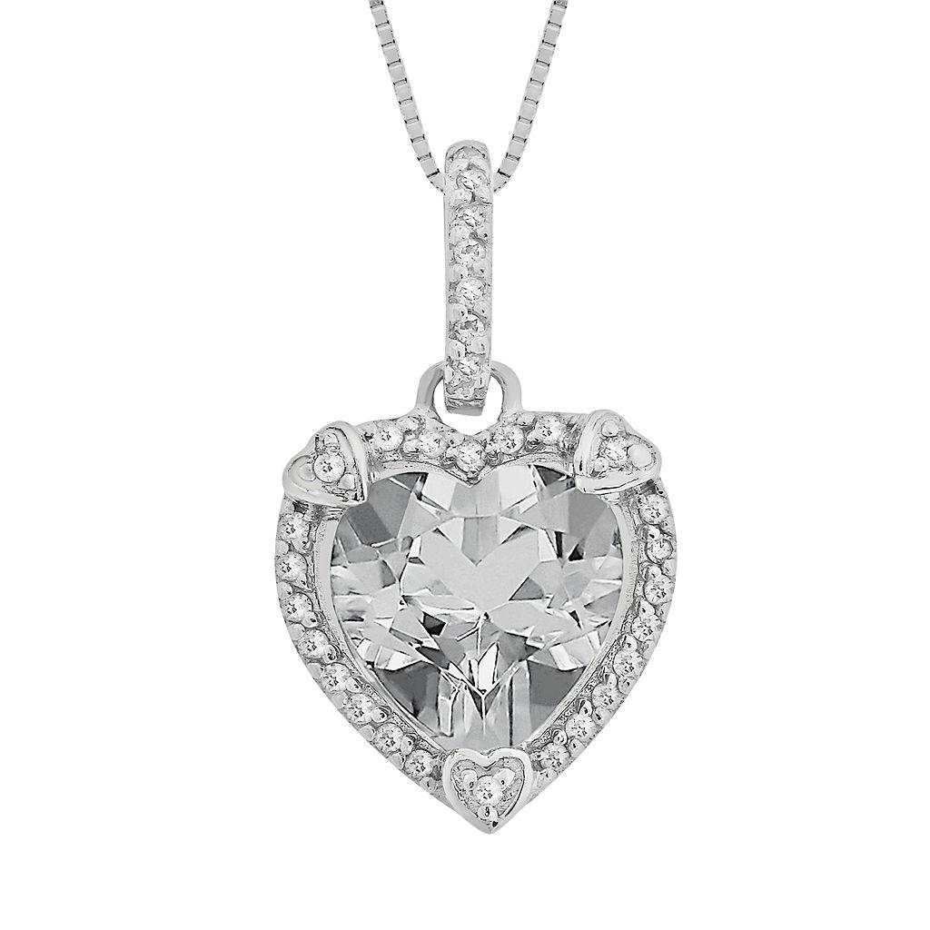 Sterling Silver White Topaz & Diamond Accent Heart Frame Pendant