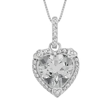 Sterling Silver White Topaz & Diamond Accent Heart Frame Pendant