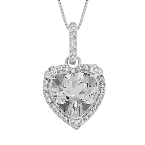 Sterling Silver White Topaz and Diamond Accent Heart Frame Pendant