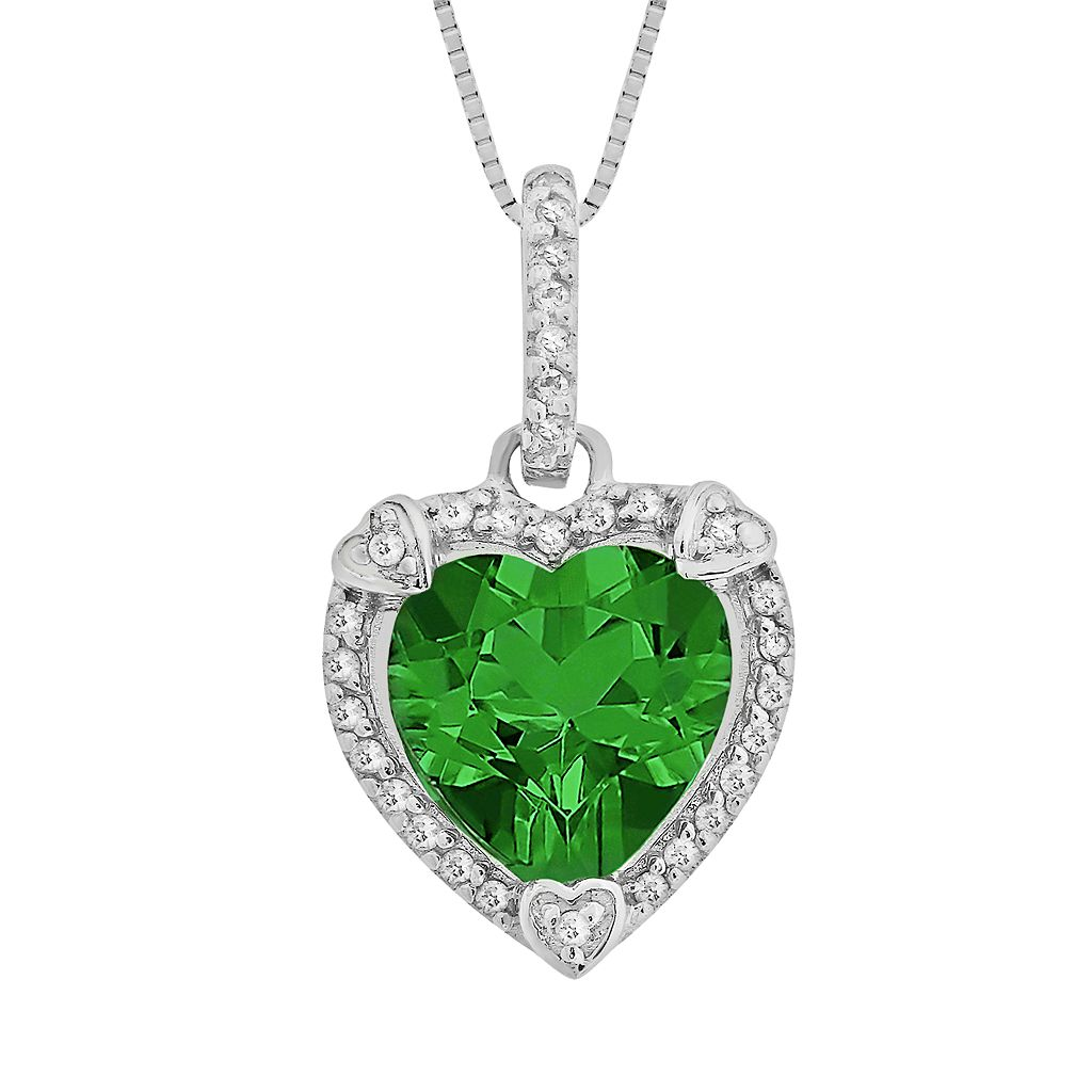 Sterling Silver Lab-Created Emerald & Diamond Accent Heart Frame Pendant