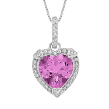 Sterling Silver Lab-Created Pink Sapphire and Diamond Accent Heart Frame Pendant