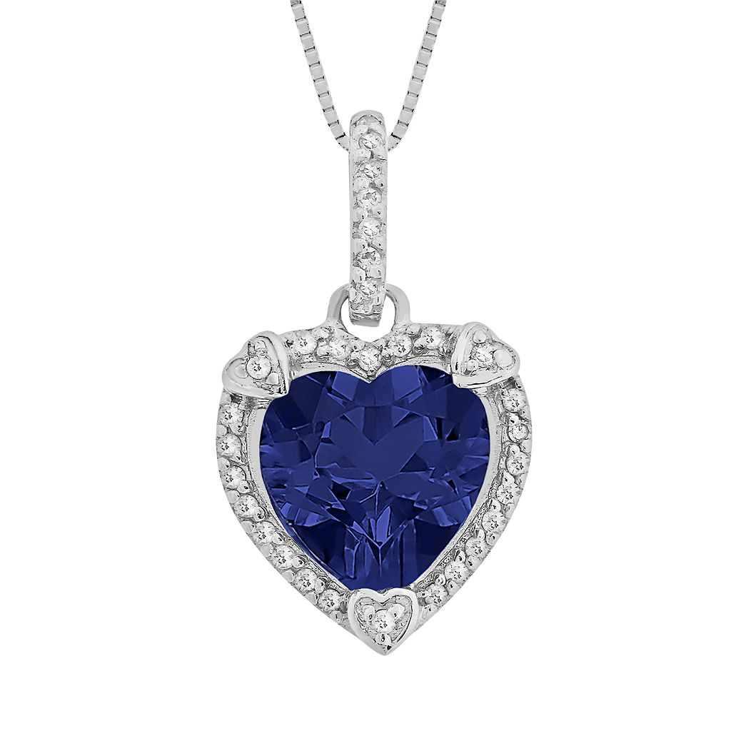 Sterling Silver Lab-Created Sapphire & Diamond Accent Heart Frame Pendant