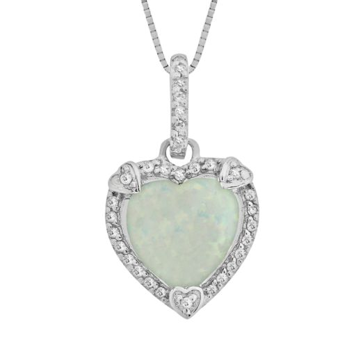 Sterling Silver Lab-Created Opal and Diamond Accent Heart Frame Pendant