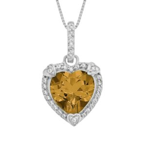 Sterling Silver Citrine and Diamond Accent Heart Frame Pendant