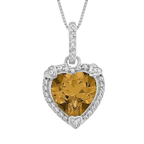 Sterling Silver Citrine & Diamond Accent Heart Frame Pendant