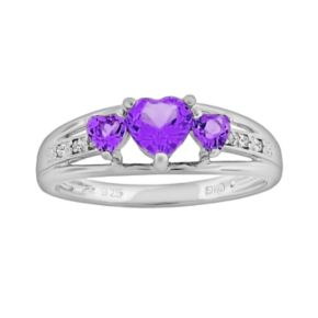 Sterling Silver Amethyst and Diamond Accent Heart 3-Stone Ring