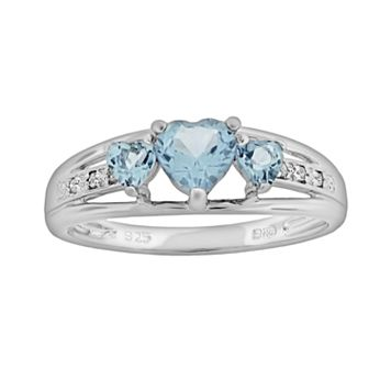 Sterling Silver Lab-Created Aquamarine & Diamond Accent Heart 3-Stone Ring