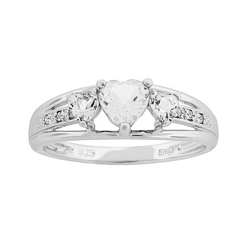 Sterling Silver White Topaz & Diamond Accent Heart 3-Stone Ring