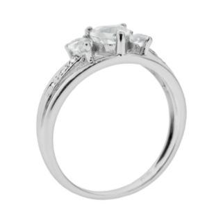 Sterling Silver White Topaz and Diamond Accent Heart 3-Stone Ring
