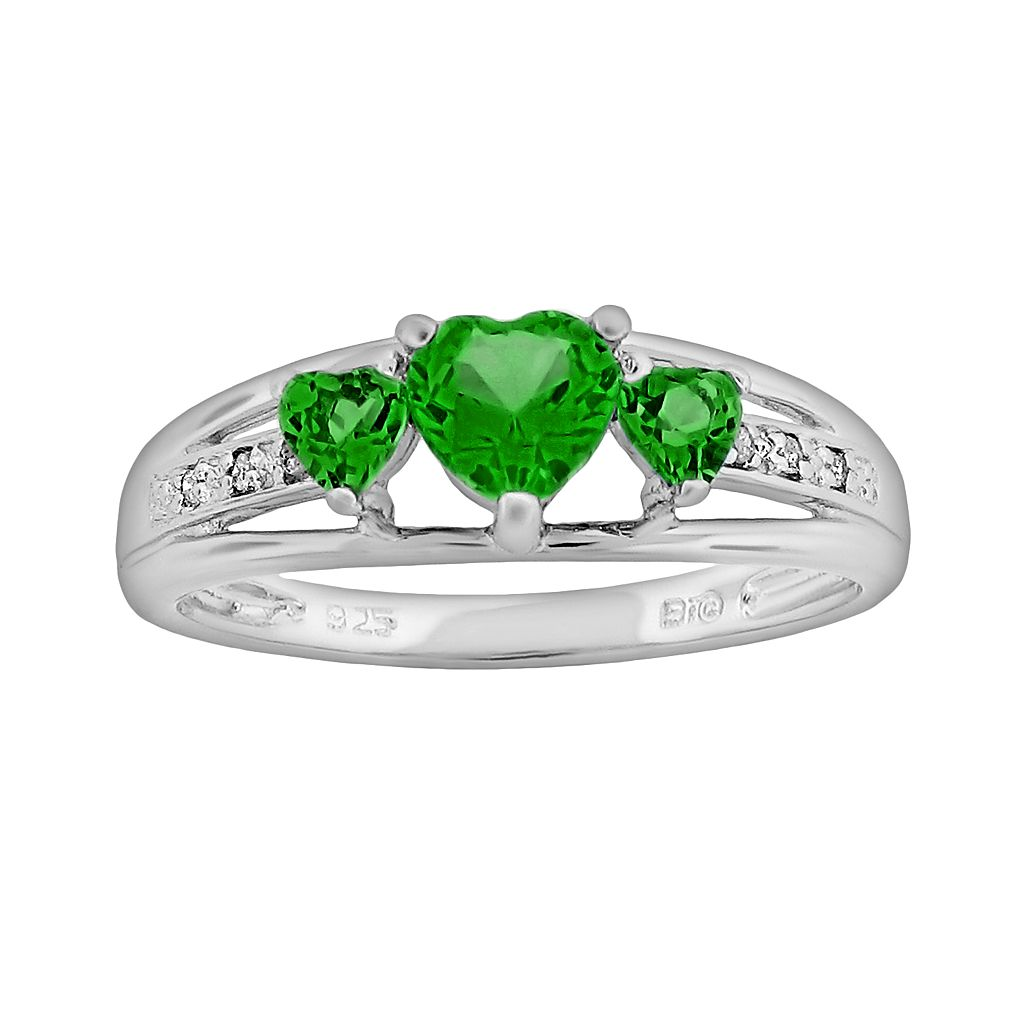 Sterling Silver Lab-Created Emerald & Diamond Accent Heart 3-Stone Ring