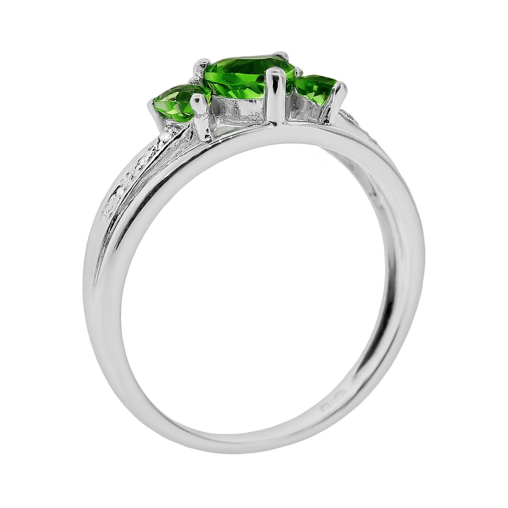 Sterling Silver Lab-Created Emerald and Diamond Accent Heart 3-Stone Ring