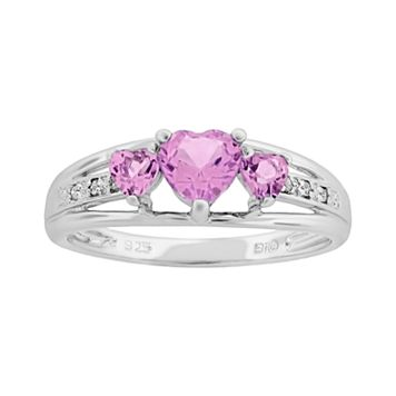 Sterling Silver Lab-Created Pink Sapphire & Diamond Accent Heart 3-Stone Ring