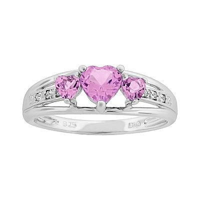 Sterling Silver Lab-Created Pink Sapphire and Diamond Accent Heart 3-Stone Ring