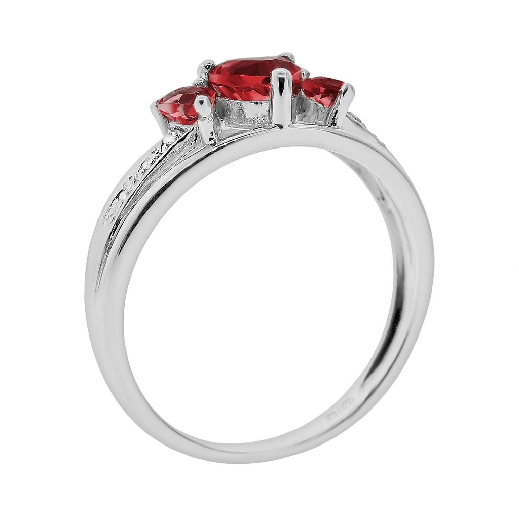 Sterling Silver Lab-Created Ruby and Diamond Accent Heart 3-Stone Ring