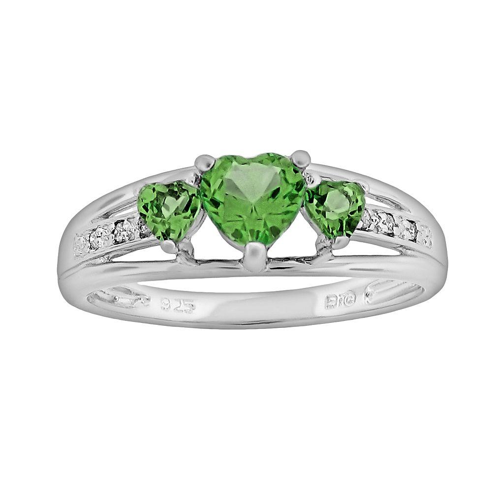 Sterling Silver Peridot & Diamond Accent Heart 3-Stone Ring