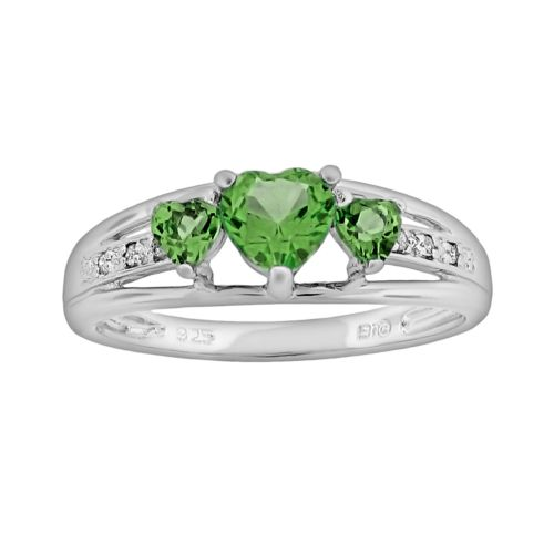 Sterling Silver Peridot and Diamond Accent Heart 3-Stone Ring