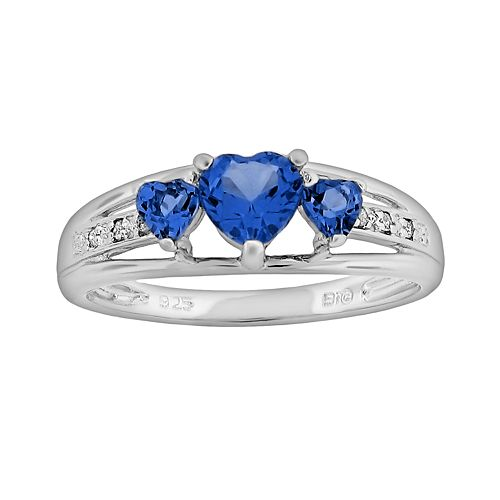 Sterling Silver Lab-Created Sapphire & Diamond Accent Heart 3-Stone Ring