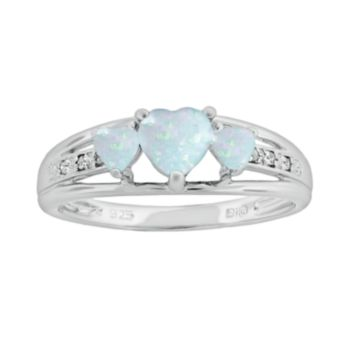 Sterling Silver Lab-Created Opal and Diamond Accent Heart 3-Stone Ring