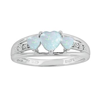 Sterling Silver Lab-Created Opal & Diamond Accent Heart 3-Stone Ring