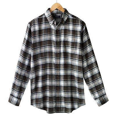 Croft and Barrow Plaid Flannel Casual Button-Down Shirt - Big and Tall