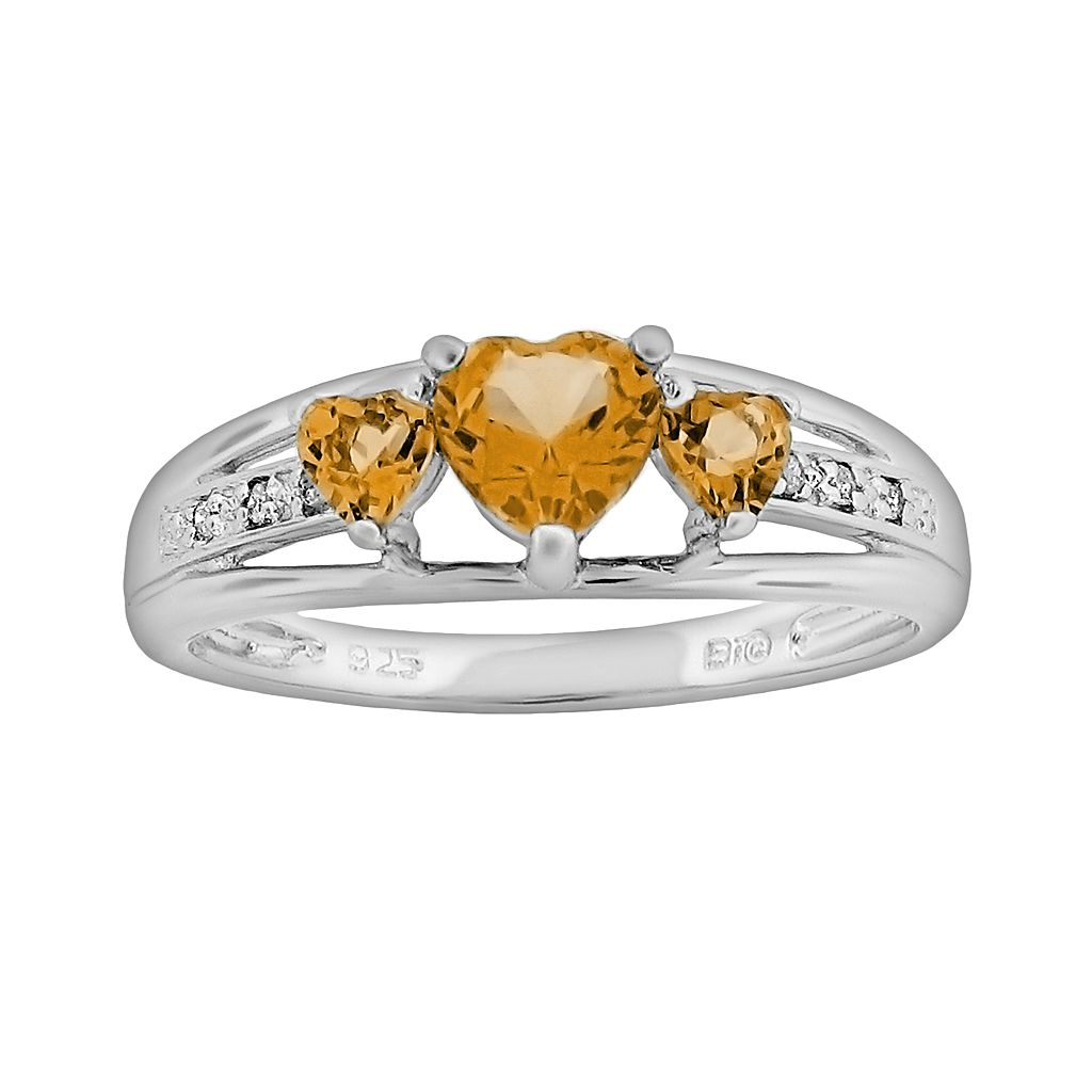 Sterling Silver Citrine & Diamond Accent Heart 3-Stone Ring