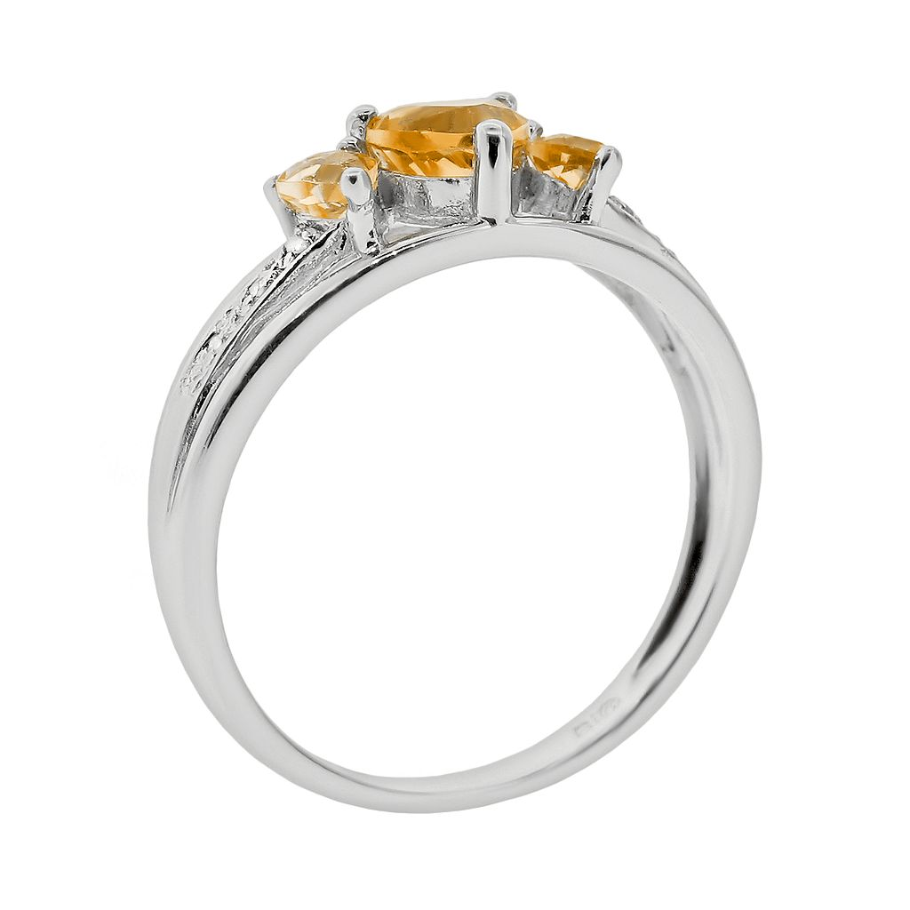 Sterling Silver Citrine and Diamond Accent Heart 3-Stone Ring