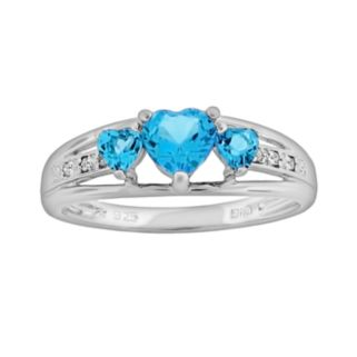 Sterling Silver Blue Topaz and Diamond Accent Heart 3-Stone Ring
