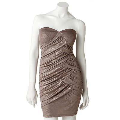 Lily Rose Animal Foil Strapless Dress - Juniors
