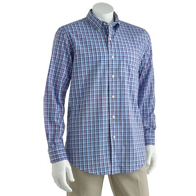 Chaps Osprey Mini-Checked Casual Button-Down Shirt - Big and Tall