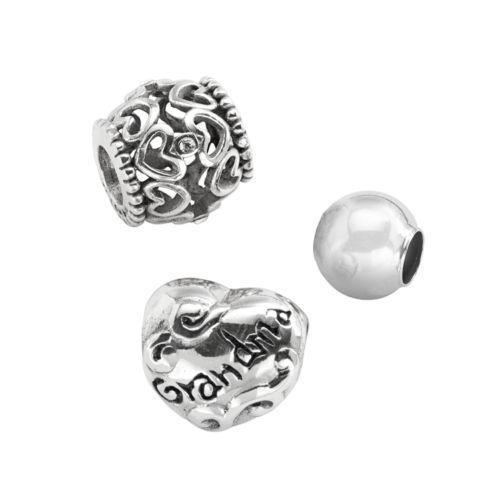 Individuality Beads Sterling Silver Crystal Openwork Heart, Grandma and Spacer Bead Set