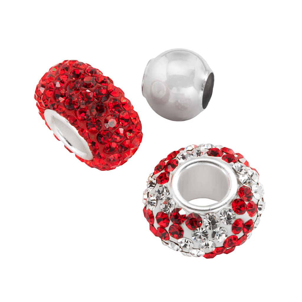 Individuality Beads Sterling Silver Red Crystal Swirl & Spacer Bead Set