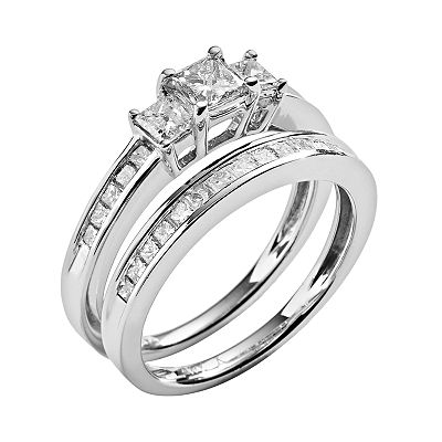 14k White Gold 1-ct. T.W. Diamond Ring Set