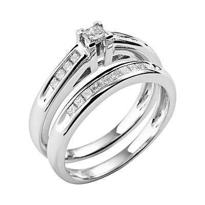 14k White Gold 1/2-ct. T.W. Diamond Ring Set