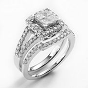 14k White Gold 1-ct. T.W. Diamond Frame Ring Set