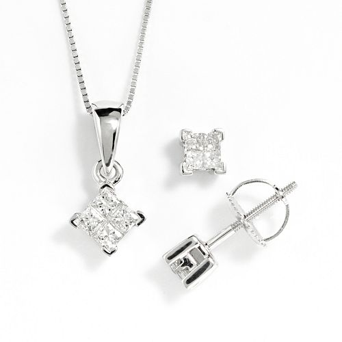 14K White Gold 1/2-Ct. T.W. Diamond Pendant And Stud Earring Set