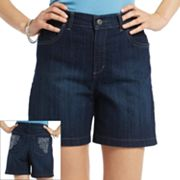Gloria Vanderbilt Amanda Slimming Embroidered Denim Shorts - Petite