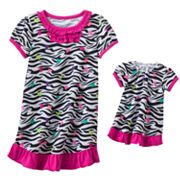 Jumping Beans Zebra Ruffle Nightgown - Toddler