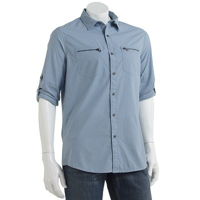 Rock and Republic Striped Woven Casual Button-Down Shirt